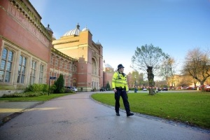 PC Simon Wilson Patrolling the campus of University of Birmingham.